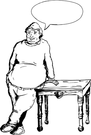 pot belly: Overweight mature laughing European male leaning on table with hand next to word balloon Illustration