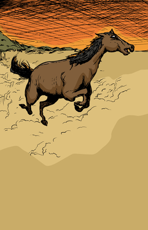 Excited wild horse running near hill with dust flying up Illustration
