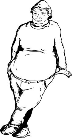 man standing alone: One mature overweight man with big belly and serious expression leaning over blank area