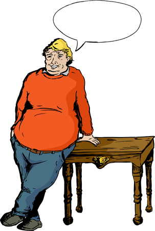 easygoing: One overweight mature laughing European male leaning on table with hand Illustration