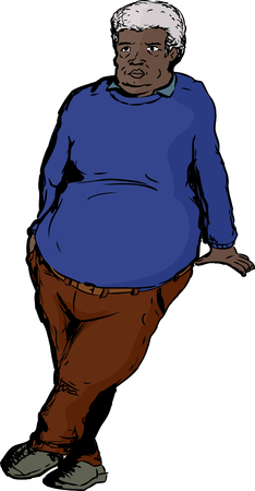 Single older overweight man with big belly leaning over blank area