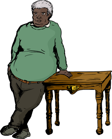 Single mature man with large build and green shirt leaning on table over white background Illustration