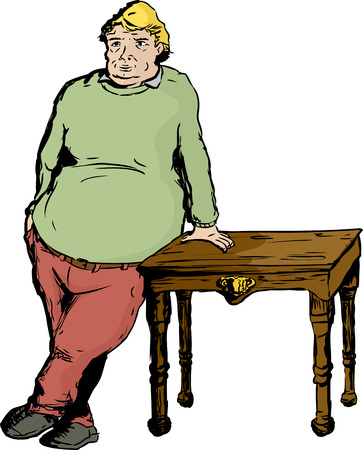 One blond overweight mature European male leaning on table with hand
