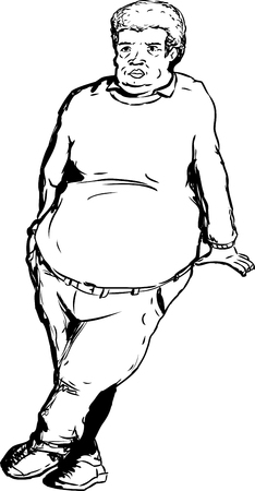 Single outlined overweight man with big belly leaning over blank area