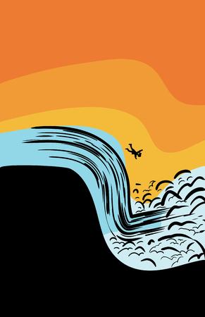 caida libre: Retroiluminada sola persona que cae en cascada corriendo