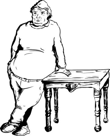 easygoing: One calm overweight mature European male leaning on table with hand Illustration