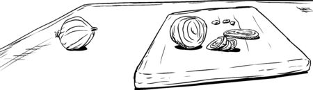 Outline sketch of whole and prepared raw onions on table and cutting board