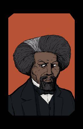 Color sketch portrait of famous African American leader named Frederick Douglass in frame over orange background Ilustração