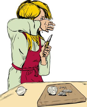 Skizze der einzelnen blond kaukasischen Frau im roten Schürze Schneiden von Zwiebeln und Weinen Standard-Bild - 51743136