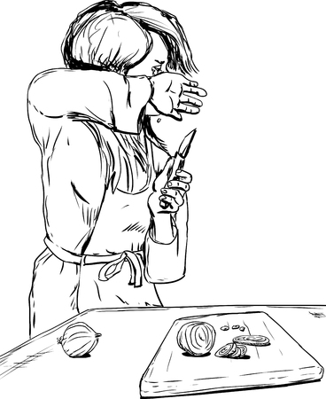 wiping: Hand drawn outline of single woman in apron wiping away tears as she chops onions Illustration