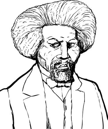 Hand drawn sketch portrait of famous African American leader named Frederick Douglass Ilustração