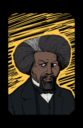 Hand drawn abstract portrait of famous African American leader named Frederick Douglass