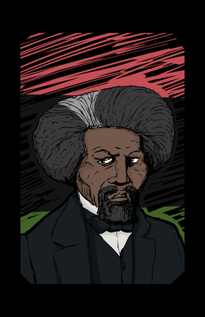 Famous African American leader named Frederick Douglass over red, black and green background