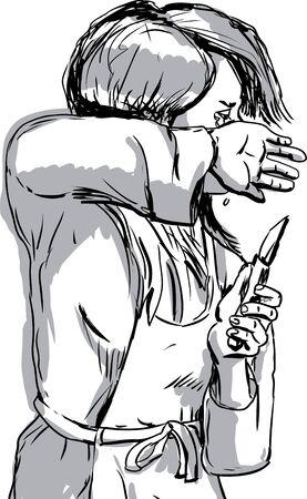 Hand gezeichnete Skizze des Weinens alleinstehende Frau in Schürze und Messer in der Hand Standard-Bild - 51743143