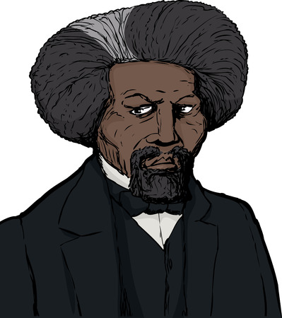 Color sketch portrait of famous African American leader named Frederick Douglass with white background
