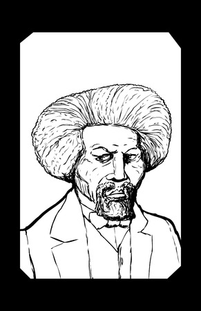 Hand drawn outline sketch portrait of famous African American leader named Frederick Douglass with black border