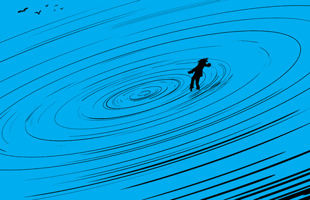 defeated: Single person floating in center of blue vortex  with flock of birds nearby Illustration