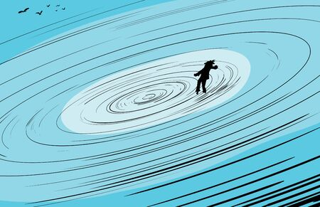 mid air: Single person floating toward center of spinning whirlpool with flock of birds nearby
