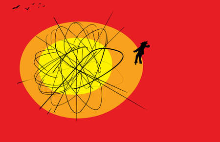 atomic explosion: Atomic explosion scribble with copy space with person and group of birds over red