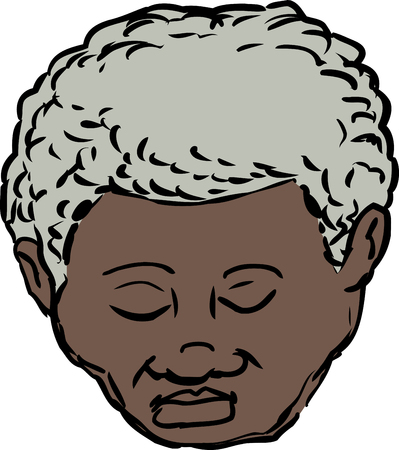 Single isolated head of mature African American man with eyes closed
