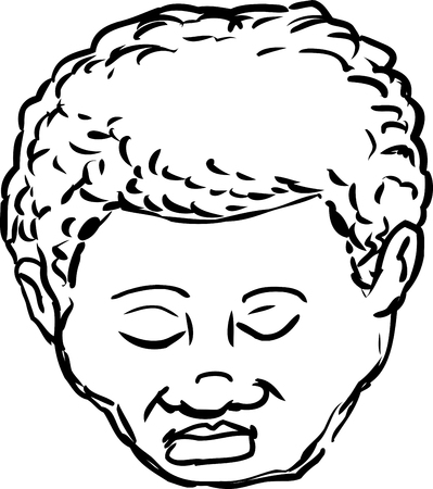 mature: Outlined isolated head of mature African American man with eyes closed