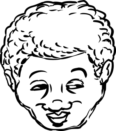 middle aged: Outlined single isolated head of grinning middle aged Black man looking over Illustration