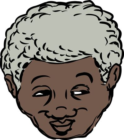 man looking out: Single isolated head of grinning middle aged Black man looking over