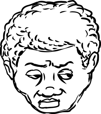 skeptical: Outlined isolated head of worried middle aged Black man looking over on isolated background