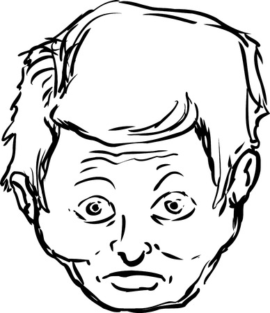 aghast: Isolated single male face with surprised or startled expression