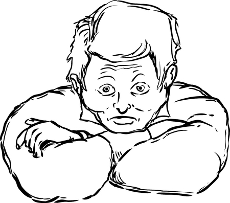 tense: Outline of wide eyed tense man with folded arms over white background