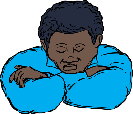 Sleeping adult African male with chin resting on folded arms on isolated background