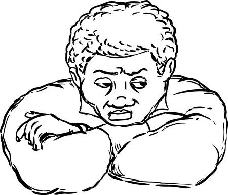 contempt: Solo hombre con expresión de enojo y los brazos cruzados sobre el fondo blanco