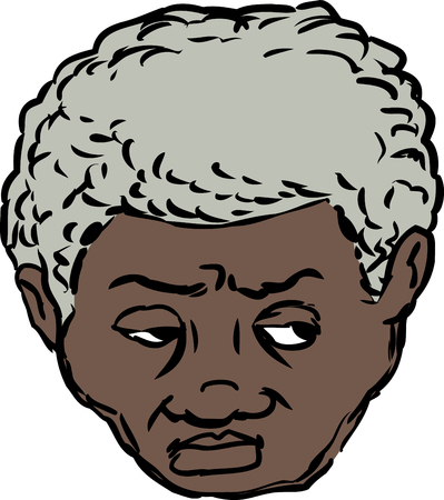 uneasy: Single isolated head of worried middle aged Black man looking over on isolated background Illustration