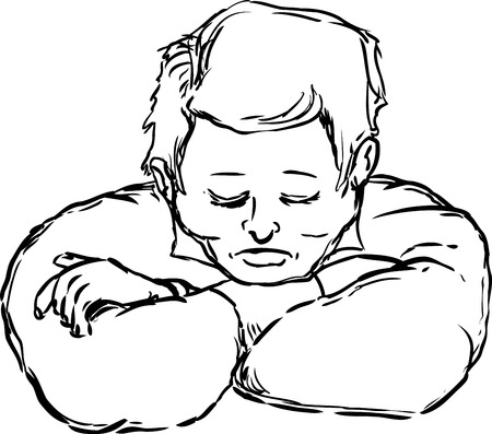 eyes closed: Outlined napping European man with eyes closed and chin on arms over white