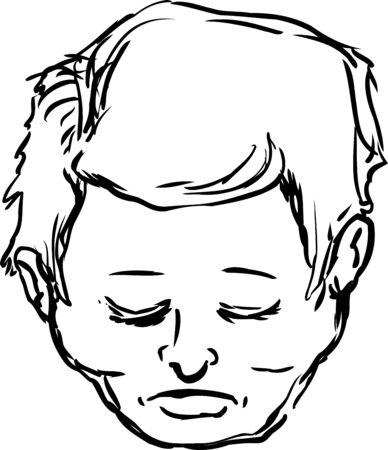 shut: Outlined male with eyes shut Illustration