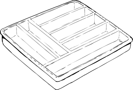 storing: Outline drawing of empty isolated rectangular cutlery tray used for storing eating utensils