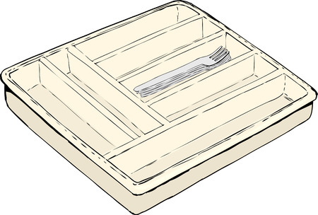 tidy: Single isolated rectangular cutlery tray with stack of forks inside
