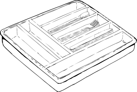 Outlined isolated rectangular cutlery tray with stacks of spoons, forks and knives over white background