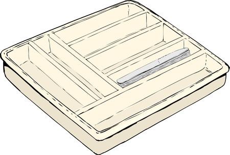 Enkele geïsoleerde rechthoekige zilverwerk lade met een stapel tafelmessen binnen Stock Illustratie