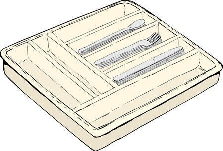 coordinated: Single isolated rectangular cutlery tray with stacks of spoons, forks and knives over white background Illustration