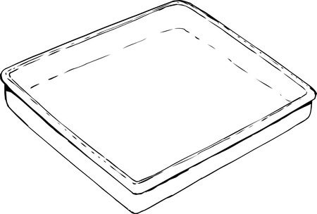 Outlined empty rectangular tray or pan sketch over white background