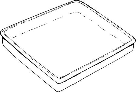 Overzicht lege rechthoekige lade of pan schets op witte achtergrond