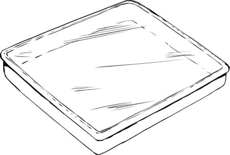 Outline of empty rectangular tray or pan with plastic wrap on top