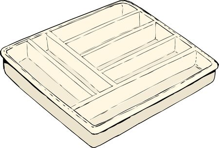 Single isolated rectangular empty cutlery tray used for storing eating utensils