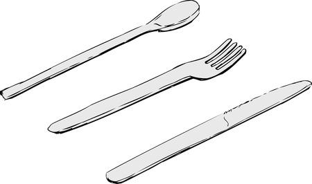 Hand getrokken schetsen van mes, vork en lepel over geïsoleerde witte achtergrond