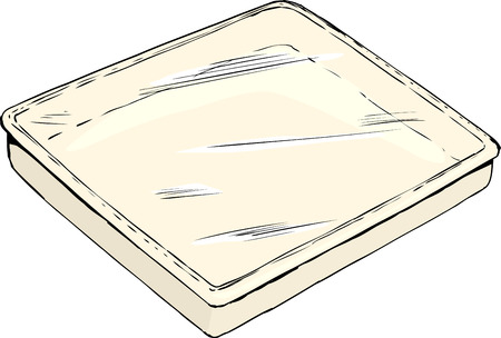Single empty rectangular tray or pan with plastic wrap cover on white background