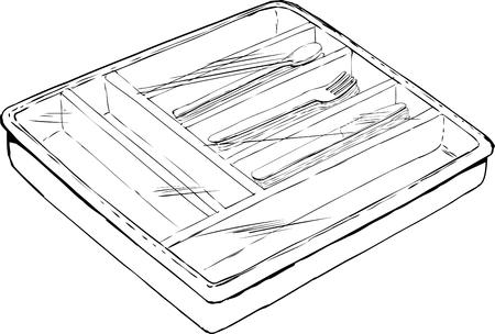 Geschetst van geïsoleerde rechthoekige bestekbak met lepels, vorken en messen onder plastic folie Stock Illustratie