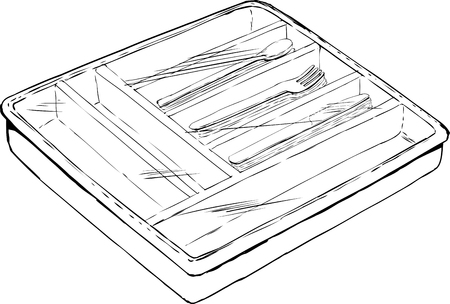 plastic wrap: Outlined of isolated rectangular cutlery tray with spoons, forks and knives covered by plastic wrap