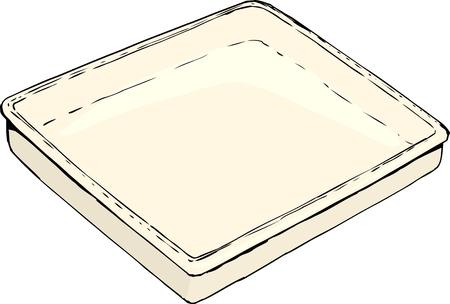 白い背景に 1 つ空長方形トレイまたはパン スケッチ  イラスト・ベクター素材