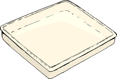 Single empty rectangular tray or pan sketch over white background